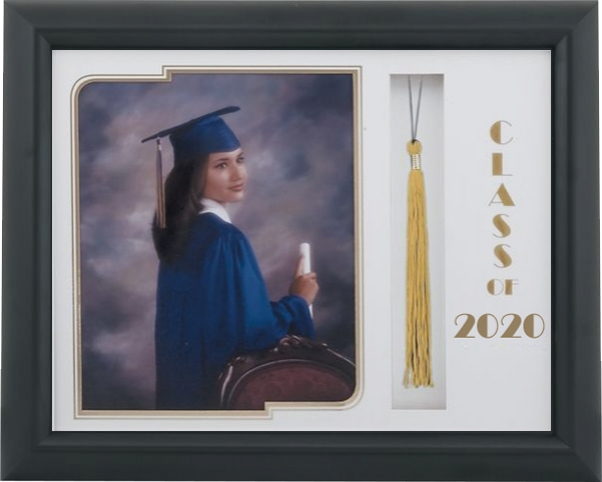 321 Black Satin Graduate Tassel Frame with a White and Gold Mat To Hold an 8x10